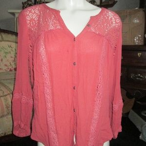 American Eagle Outfitters - Salmon Down Blouse L
